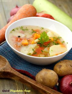 A perfectly chosen combination of vegetables, cooked the right way, and garnished with the right spices, results in a Quick Vegetable Soup that is so delicious you would want to skip the main meal and indulge in another bowlful!
