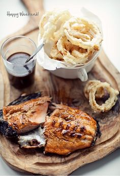 salmon & onion rings- delish!