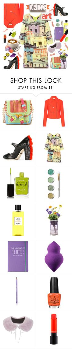 """""""🎀 #617 Dress Art #under100"""" by wonderful-paradisaical ❤ liked on Polyvore featuring Sophia Webster, A.L.C., Dolce&Gabbana, WithChic, Lauren B. Beauty, Terre Mère, Hermès, Modern Sprout, Happy Jackson and Sephora Collection"""