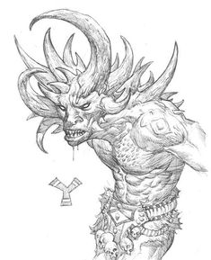(Artwork by Steve Prescott) Yehwe Zogbanu Origins- Dahomey Fon (Benin) Deadly A giant troll covered with 30 horns on his head and body and a deadly threat to hunters or anyone as it is extremely territorial and will kill and eat anyone trespassing. Mythological Creatures, Mythical Creatures, African Mythology, Celtic Mythology, God Tattoos, Fantasy Monster, Creatures Of The Night, Medieval Fantasy, Dark Fantasy
