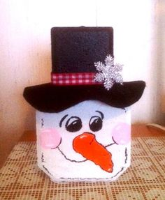 Image detail for -Handpainted Paver Snowman with Carrot Nose by wysrwmn on Etsy Snowman Crafts, Christmas Projects, Holiday Crafts, Christmas Crafts, Christmas Decorations, Christmas Ornaments, Christmas Ideas, Christmas Stuff, Christmas Holiday