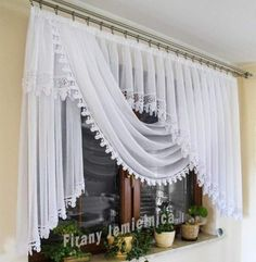 Curtain with a 2 m wide scarf decorated with guipure - Firana z szalem ozdobiona . Curtain with a 2 m wide scarf decorated with guipure – Firana z szalem ozdobiona gipiurą Swag Curtains, Curtains And Draperies, Elegant Curtains, Home Curtains, Beautiful Curtains, Kitchen Curtains, Drapery, Shabby Chic Curtains, Valances