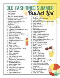 to give your kids an old fashioned summer {printable bucket list} - It's Always Autumn How to have an old fashioned summer: 75 electronics-free summer activities for kidsHow to have an old fashioned summer: 75 electronics-free summer activities for kids Summer Fun For Kids, Summer Fun List, Summer Bucket Lists, Free Summer, Summer Activities For Kids, Family Activities, Indoor Activities, Kids Games Free, Outdoor Activities For Adults