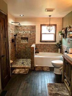 Rustic Master Bathroom, Master Bathroom Shower, Luxury Master Bathrooms, Rustic Bathroom Designs, Laundry In Bathroom, Dream Bathrooms, Bathroom Interior, Bathroom Ideas, Cabin Bathrooms