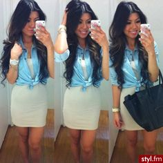 Dress with denim shirt over to dress it down a little