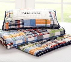 Jacob's new bedding! Madras plaid from Pottery Barn Kids