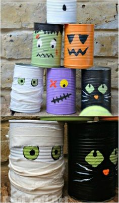 Play a Cute Tin Can Bowling Game with Your Kids