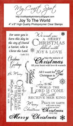 My Craft Spot - Clear Stamps - Joy to the World Christmas Card Verses, Christmas Card Messages, Christmas Sentiments, Christmas Fonts, Card Sentiments, Christmas Cards To Make, Christmas Quotes, Xmas Cards, Holiday Cards