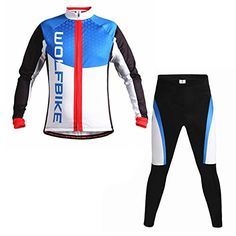 Biking Jersey and Long Pants Fleece thermal Cycling Shirts and Padded Shorts Windproof Jackets Blue OW256 L ** Read more  at the image link.