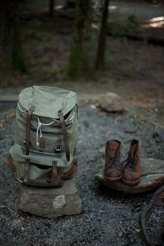 Backpack and boots.. All a girl needs.