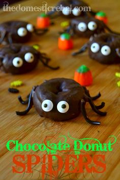 Chocolate donut spiders - cute!