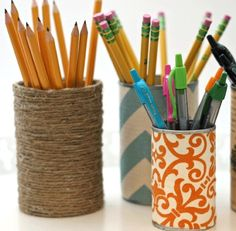 Upcycled pencil holders. | Modern Mrs Darcy