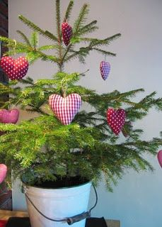 simple small living Christmas tree.  perfect for a country kitchen or tiny area