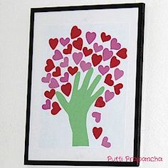 Handprint Heart Tree Craft... I made this with 30 third graders using their actual handprints and tempura paint. Each one was different,  all were beautiful.  Use heart shaped craft punches to save cutting time, or stickers if you are only making a few.