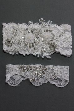 Wedding Garter Set Silver and White