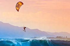 Kite surfing an indo wave