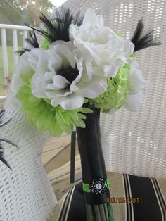 Silk Bridal Bouquet - Vibrant Green and White with Black Feathers