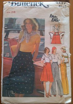 1970's Butterick Pattern 4137 Vintage Fast & Easy Misses' Skirt & Pants