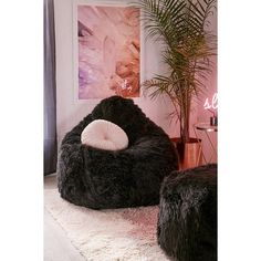 Aspyn Faux Fur Shag Bean Bag Chair 198 Liked On Polyvore Featuring Home