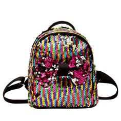 0eb673d5f5 ISHOWTIENDA Backpack Sequins Bow Tie School Bag Backpack Satchel Women  Travel Shoulder Bag PU Leather Backpack  XTJ