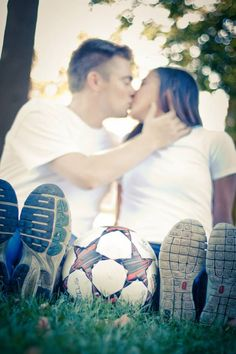 One of our favorite soccer engagement pictures! Taken by Kristin Bliss at Picture Bliss Photography Soccer Engagement Photos, Fall Engagement, Engagement Couple, Engagement Shoots, Soccer Photography, Couple Photography, Engagement Photography, Save The Date Pictures, Wedding Pictures