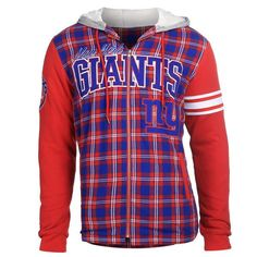 Showcasing Men's Football Outerwear,we bring Licensed Team Sports Fanwear fashion trends to Football Fans Nfl New York Giants, Nhl Jerseys, Men's Football, Fleece Hoodie, Sport Outfits, Flannel, Hooded Jacket, Hoods, Jackets