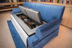 Couch Bunker Safe and Hidden Safe Furniture : Blue Velvet Gun Safe Couch! Hidden Gun Safe, Hidden Gun Storage, Weapon Storage, Airsoft Storage, Hidden Shelf, Ammo Storage, Bunker, Hidden Gun Cabinets, Secret Compartment