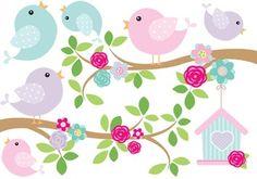 Kit De Vinilo Ramas Pajaritos Casita rosa pastel - comprar online