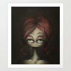 Self portrait wearing brades Art Print by Lotte Teussink