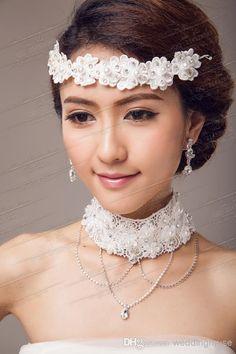 Calidad Top Envío Gratis De Encaje De Las Perlas De La Boda De Novia Tiaras De La Joyería Y Collar De Cristal