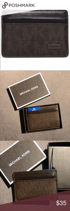 New Authentic MK slim card case with Id protection Practical with a touch of panache, this Jet Set case is a clever little catch-all for your cards and currency. The exterior features a signature print, while a streamlined interior keeps the contents safely stowed. Michael Kors Bags Wallets