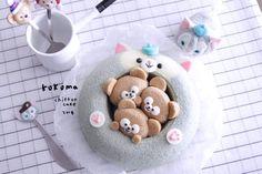 Kawaii Dessert, Egg Cake, Chiffon Cake, Sponge Cake, Cute Cakes, Cute Food, Food Art, Food To Make, Cake Decorating
