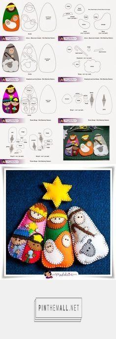New Strip Quilting Blocks Free Pattern Ideas Felt Christmas Decorations, Crochet Christmas Ornaments, Christmas Sewing, Diy Christmas Tree, Christmas Nativity, Felt Ornaments, Christmas Projects, Handmade Christmas, Felt Crafts