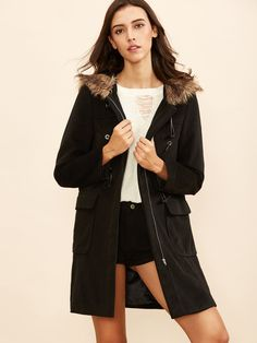 Shop Black Duffle Coat With Faux Fur Hood online. SheIn offers Black Duffle Coat With Faux Fur Hood & more to fit your fashionable needs.