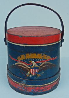 19th Cen. Folk-art red white and blue paint decorated firkin, outstanding piece of patriotic Americana.