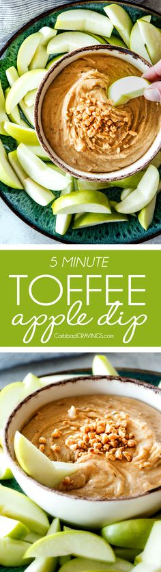 5 Minute Cream Cheese Toffee Apple Dip is my go-to party dip! Its rich and creamy with crunchy, sweet toffee bits and couldn't be any easier! Everyone goes crazy for this dip!