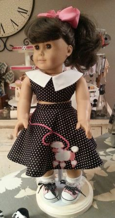 Girls Poodle Skirt, Poodle Skirt Outfit, Poodle Skirts, American Doll Clothes, Ag Doll Clothes, Doll Clothes Patterns, Doll Patterns, American Girl Halloween, Sundresses