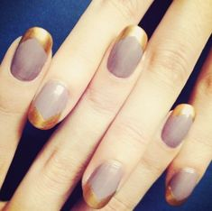 Easy Lavender with Asymmetrical Gold Tips Nail Design