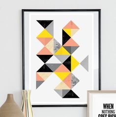 Geometric print Abstract art Watercolor print by handz on Etsy