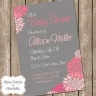 pink and gray baby shower idea invites look like dahlias