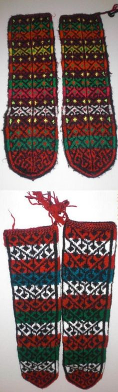 Traditional woollen socks for women.  From the Gölova district (in the northeast of the Sivas province).  Last quarter of 20th century.