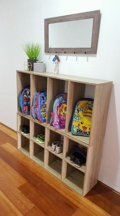 40 school bag storage ideas - The Organised Housewife Get organised and prepared for busy school mornings with these 40 clever, creative and clutter-free school bag storage ideas. School Bag Storage, Kids Storage, Storage Shelves, Storage Ideas, Cubbies, Kids Bedroom Storage, Cube Storage, Toy Storage, Craft Storage