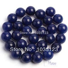 "Free Shipping 14mm Blue Stone Round Shape Loose Beads Strand 15"" DIY Creative Jewellery Making w103"