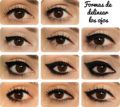 Eyeliner Designs Eyeliner ideas - see how each changes the shape of the eye? Important stuff!Eyeliner ideas - see how each changes the shape of the eye? Important stuff! Eyeliner Designs, Eyeliner Hacks, Eyeliner Ideas, Apply Eyeliner, Winged Eyeliner, Black Eyeliner, Top Eyeliner, Purple Eyeliner, Eyeliner Makeup