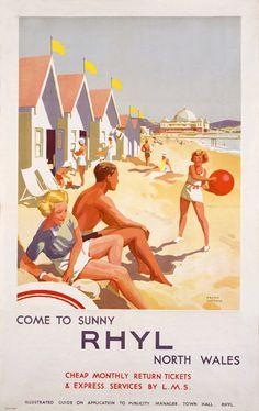 LMS Come to Sunny Rhyl North. Transport Map, Transport Images, Poster Ads, Poster Prints, Villages In Uk, British Holidays, Visit Britain, British Travel, Vintage Swim