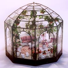 Conservatory 2 #miniatures, dollhouse. #Doll house, Glass house, terrarium, Green house, ornament, miniature, putz, 1/144 scale