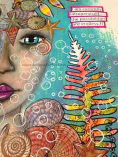 ART JOURNAL PAGE | UNDER THE SEA | Nika In Wonderland Art Journaling and Mixed Media Tutorials; Apr 2015