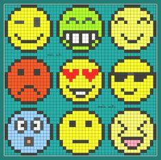 Emoticon Perler Bead Pattern Plus Hama Beads Design, Hama Beads Patterns, Loom Patterns, Beading Patterns, Pixel Art Emoji, Pixel Art Smiley, Crochet Pixel, Cross Stitch Embroidery, Cross Stitch Patterns