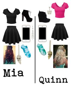 """Black hole Mia and Quinn's twining outfits"" by xxmia-hood-xx ❤ liked on Polyvore featuring LE3NO and Mixit"
