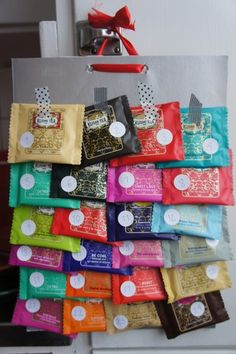 Nice Idea! Tea Advent <3 I like the simplicity of this. Could also use hot cocoa pkts.